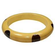 Vintage Bakelite Yellow and Polka dot Bracelet