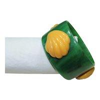 Vintage Plastic Shell Bangle Bracelet