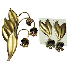 Joseff Bell Floral Pin and Matching Earring Set