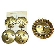 Joseff Sun and Moon Pin and Earring Set