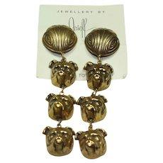 Joseff Dangle Bulldog Earrings