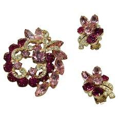 Vintage 'Eisenberg Ice' Pink Crystal Pin