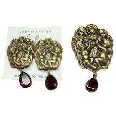 Joseff Red Crystal Cherub Pin and Earring Set