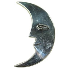 Vintage Sterling Moon Pin