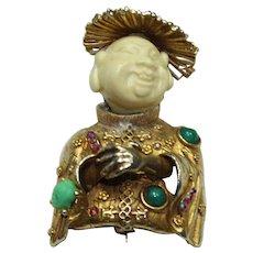 Vintage 'HAR' Smiling Buddha Pin