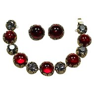 Vintage Red Cabochon and Crystal Bracelet and Earring Set