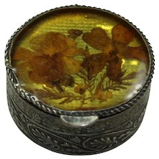 Vintage Resin and Real Flower Pill Box