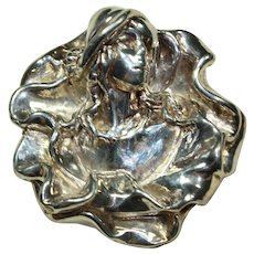 Vintage Sterling Silver Lady Pin