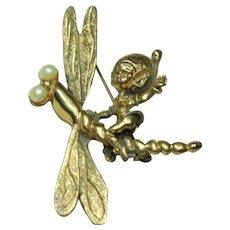 Vintage Tortolani Dragonfly Pin