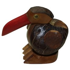 Vintage Wood and Bakelite Bird Toothpick Holder