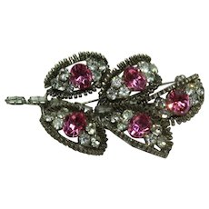 Vintage Austria Pink and White Crystal Pin