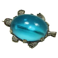 Vintage Jelly-Belly Blue Turtle Pin
