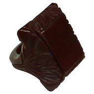Vintage Chocolate Bakelite Ring