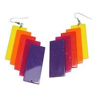 Vintage Plastic Rainbow Earrings