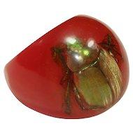 Vintage Red Plastic Beetle Ring