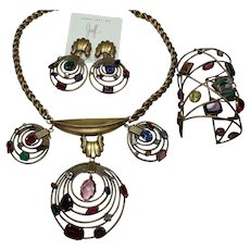 Joseff Book Piece Multi-Crystal Necklace, Earrings and Bracelet Set
