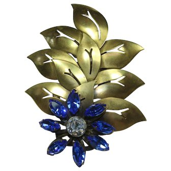 Joseff Blue Crystal Leaf Pin
