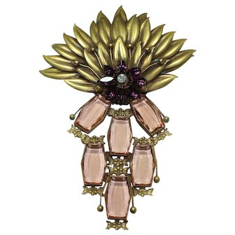 Joseff Pink Crystal Peacock Pin
