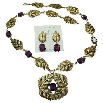 Joseff Crystal Leaf Necklace and Earring Set Book Piece