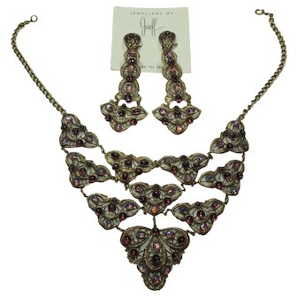 Joseff Cabochon Bib Necklace and Earring Set