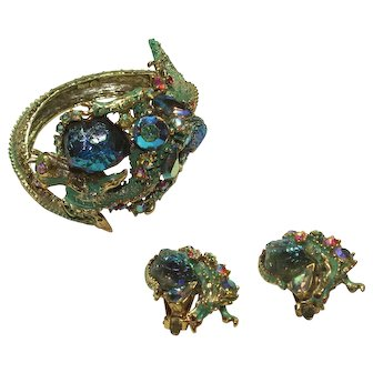 Vintage HAR Dragon Bracelet and Earring Set