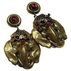 Joseff Elephant Clip Earrings