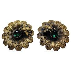 Green Cabochon Joseff Bee Earrings