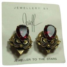 Joseff Red Crystal Earrings