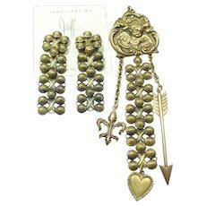 Joseff Cherub Dangle Pin and Earring Set
