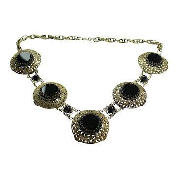 Joseff Black Stone Round Necklace