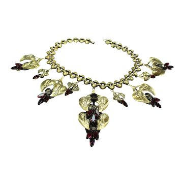 Stunning Joseff Pink and Red Crystal Calla Lilly Necklace