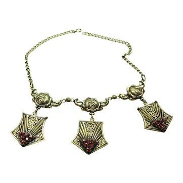 Joseff Pink Stone Art Deco Necklace