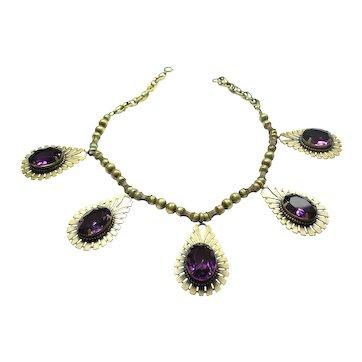 Joseff Purple Crystal Drop Necklace
