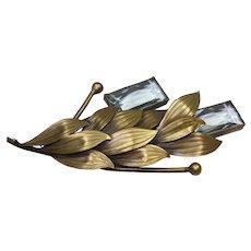Joseff Aqua Crystal Pin and Earring Set
