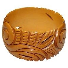 Vintage Carved Butterscotch Bracelet