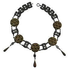 Joseff Medallion Necklace with Three Drops
