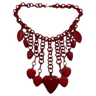 Charming Vintage Celluloid Hearts & Strawberries Red Dangle Necklace