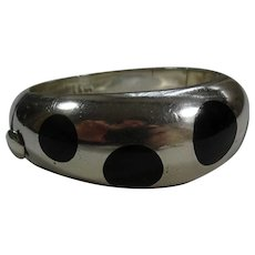 Cool Vintage Double Tree TAXCO Mexican Sterling Silver Hinged Bangle Bracelet Bracelet with Inlaid Onyx Dots