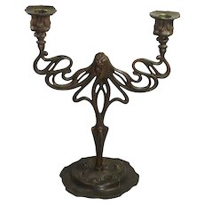 Fabulous Bronze & Gold Tone Cast Iron Candelabra