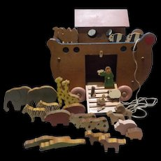 Wooden Noah's Ark with wooden animals and Noah!