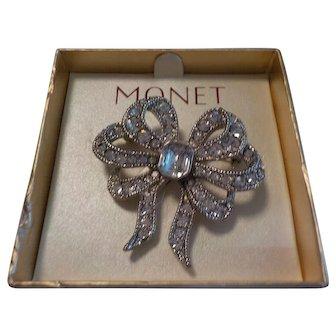 """MONET"" Bow Rhinestone Pin"