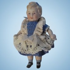 """Antique 4"""" All Bisque Limbach Doll Marked"""