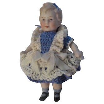 "Antique 4"" All Bisque Limbach Doll Marked"
