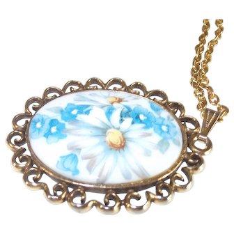"""Vintage Porcelain Cabochon Necklace Painted Floral 28"""" chain"""