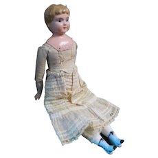 "13"" Antique German Minerva Metal Head Doll"