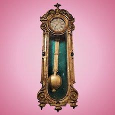Miniature Antique German Dollhouse Soft Metal Hanging Clock with Swinging Pendulum