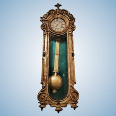 Miniature Antique German Dollhouse Soft Metal Hanging Clock with Swinging Pendulum
