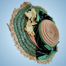 Beautiful Original Antique Straw hat for a French Fashion or a tiny Bebe