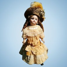 """Reserved by A. Fleischmann&Bloedel 18""""Eden Bebe doll (46 cm) with a closed mouth, approximately year 1880 (ALL ORIGINAL!!!)"""
