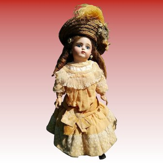 "Fleischmann&Bloedel 18""Eden Bebe doll (46 cm) with a closed mouth, approximately year 1880 (ALL ORIGINAL!!!)"